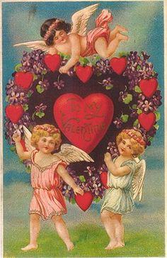 Google Afbeeldingen resultaat voor http://vintageholidaycrafts.com/wp-content/uploads/2008/11/victorian-valentines-card-three-cherubs-purple-flowers-hearts.jpg