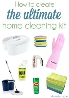 How to create the ultimate home cleaning kit.  All the essentials to keep your house clean, plus this would make a great housewarming gift!
