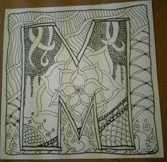 Zentangle inspired art - alphabet series - M