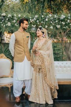 Couple Wedding Dress, Asian Bridal Dresses, Pakistani Wedding Outfits, Pakistani Bridal Dresses, Pakistani Wedding Dresses, Bridal Outfits, Indian Outfits, Wedding Hijab, Indian Clothes