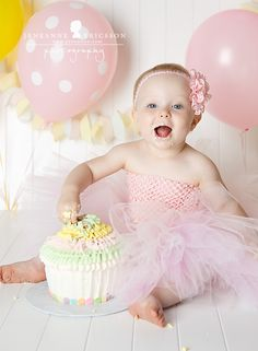 A is One! Petaluma children's photographer » Jeneanne Ericsson Photography pastel girl giant cupcake