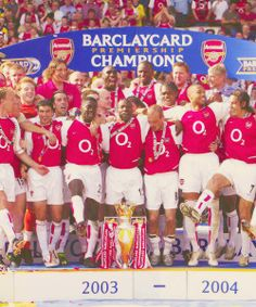 'May 2004 - Arsenal have made history. Won drawn 12 and lost exactly none. An entire season unbeaten!' The invincibles! Arsenal Players, Arsenal Football, Arsenal Fc, North London, Victoria Justice, Old Boys, Sports Illustrated, Champion, Soccer
