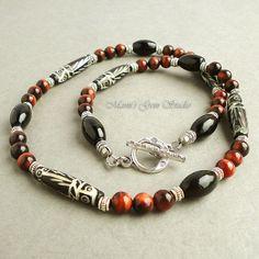 Tribal Jewelry for Men  Carved Bone Black Onyx by mamisgemstudio, $29.95