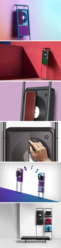 You'll never see a turntable with more of a bad-boy personality than the Dude. Designed to rest against a wall like a real dude would, the turntable comes with a mesh door that holds the vinyl in place, and the needle is built right into the door itself. As the record plays, the needle moves along its slot, looking just simply beautiful. The only control you need is the knob on the side that lets you choose your RPM.