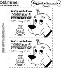 Clifford the Big Red Dog Birthday Party Invitations