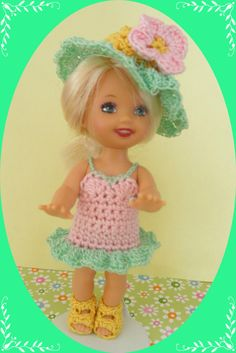"""Crochet Doll Clothes Duck Swimmer Outfit for 4 ½"""" Kelly Same Sized Dolls"""