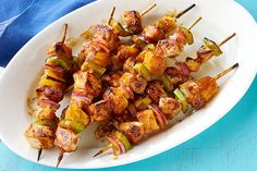 Pass the napkins! These Pork and Pineapple Kabobs are a deliciously sticky mix of sweet and savory. Make Pork and Pineapple Kabobs in under 45 minutes. Kabob Recipes, Grilling Recipes, Pork Recipes, Cooking Recipes, Healthy Recipes, Delicious Recipes, Cooking Games, What's Cooking, Recipies