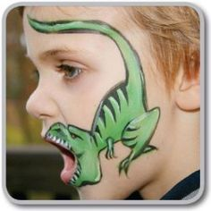 Schminken: Not that I can do this myself, but here are some really cool face painting ideas, a few of which are away from the standard butterflies and birds. Maquillage Halloween, Halloween Makeup, Halloween Face, Dinosaur Face Painting, Face Painting For Kids, Easy Face Painting Designs, Diy For Kids, Crafts For Kids, Diy Crafts