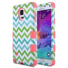 Amazon.com: Note 4 Case,ULAK Note 4 ULAK Colorful Hybrid TPU+PC 3in1 Sockproof Hard Case for Samsung Galaxy Note 4 Case Cover with Screen Protector Stylus (Blue/Green Wave + Purple): Cell Phones & Accessories