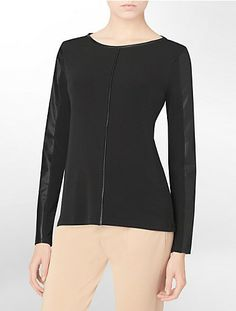 long sleeve faux leather trim top