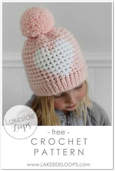 My most requested crochet pattern design is now available for instant download! This sweet little heart hat can be made in 4 sizes including baby, toddler, child, and adult. The brim looks like knit but is actually crochet and the heart design is achieved using a simple technique that allows the crochet stitches to line up perfectly! All you need is some bulky yarn and a 6.5mm crochet hook! Bonnet Crochet, Crochet Beanie Pattern, Crochet Patterns, Crochet Stitches, Booties Crochet, Crochet Design, Doll Patterns, Crochet Kids Hats, Crochet Girls