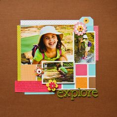 Something about this layout really draws me in. I love the colors, and the photos are very cute, too. By Pamella Brown on AC's blog