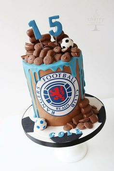 Football, rangers fan, drip chocolate birthday cake