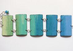 Blue Enamel Cuff Bracelet