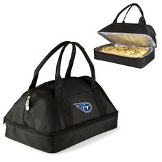 Tote your potluck dish in style with this licensed NFL Casserole Tote. The Casserole Tote is two-tiered with an insulated compartment to carry warm or cold items and a separate zippered entry section