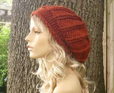 Knitting Pattern - Knit Hat Knitting Pattern - Knit Hat Pattern for The Chunky Rolled Brim Ribbed Beret Hat - PDF Pattern. $5.00, via Etsy.
