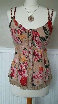 Floral top drawstring per una size 8 corset vintage victorian steampunk gothic
