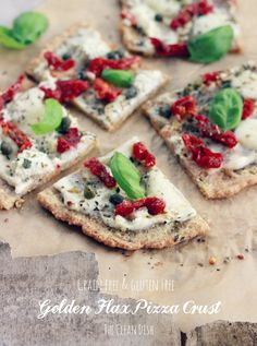Golden Flax Pizza Crust {Grain Free and Gluten Free} with Sundried Tomatoes and Goat Cheese