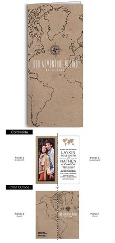 The Adventure Begins tea fold photo wedding invitations.  Let the world know about your wedding with this fun folded map invite with room for your favorite photo on one side and all the important wedding details on the other side.