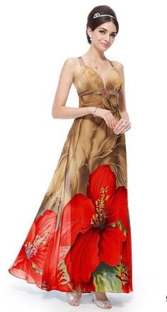 Cross Back V-neck Rhinestones Printed Chiffon Evening Dress - Size 8