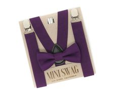 Quality handmade bow ties, suspenders, and accessories by MiniSwagTextiles Grey Suspenders, Groomsmen Suspenders, Purple Birthday, Boy Birthday, Purple Bow Tie, Ring Bearer Outfit, Kids Bow Ties, Cake Smash Outfit, Page Boy