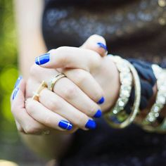 Blue & Gold Nails. | © Krista Fredricks.