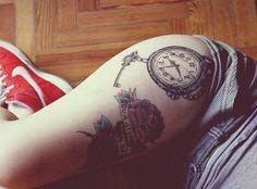 gorgeous clock tattoo