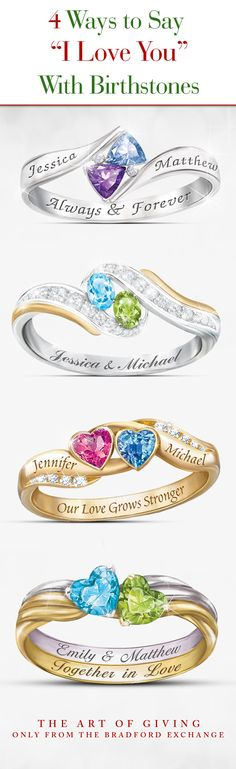"""Customize one with your 2 birthstones for your sweetheart and say """"I Love You"""" in a most unique way."""