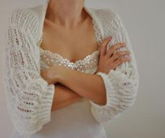 Handmade Ivory Romantic and Soft Shrug by reflectionsbyds