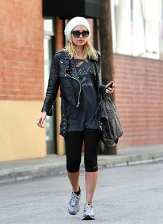 i LOVE how nicole richie pulls off this look with sneakers.