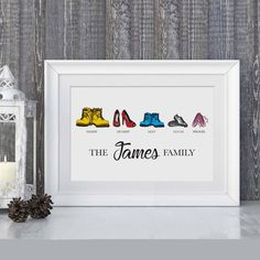 Custom family print/personalised family shoe print/welly print/family wall art/housewarming gift/family art/gift for her/shoe lover Lovely personalised family shoe print with space for pets too. Pebble Art Family, Family Wall Art, Special Friend Gifts, Gifts For Friends, Gifts For Family, Family Family, Personalised Family Print, Pottery Shop, Crafts To Make And Sell