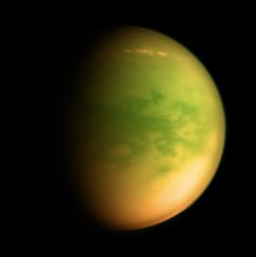 """humanoidhistory: """"ON THIS DAY: Behold Titan, moon of Saturn, observed by the Cassini space probe on December 14, 2009. (Kevin Gill) """""""