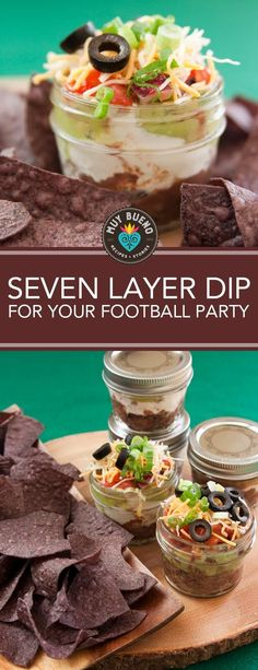 Seven Layer Dip for your Football Party. If you are hosting a football playoff or Super Bowl party consider these simple ideas for epic game day snacking. Seriously who doesn't love seven-layer dip? It's easy to make and everyone can dip in his or her own individually portioned jar. They make a great afterschool snack too.