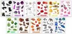 """Pour mon affichage des couleurs, je ne trouvais pas de référentiel qui me plaisait alors, je me suis inspirée d'un imagier des pour faire le mien, avec de belles photos plutôt que des dessins ou des pots de peinture... c'est plus facile avec des petits de dire """"jaune comme le citron"""" avec une photo de citron... ... Teaching Colors, Petite Section, Early Education, Arts And Crafts, Kids Rugs, Cards, Poster, Recherche Google, Animation"""