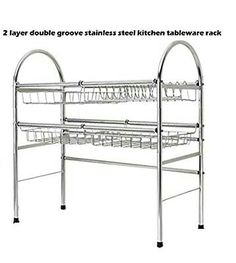 NEW Two Layer Double Groove Stainless Steel Kitchen Tableware Rack(item Kitchen Sink Organization, Small Space Organization, Kitchen Shelves, Kitchen Storage, Furniture Makeover, Diy Furniture, Kitchen Upgrades, Flat Ideas, Stainless Steel Kitchen