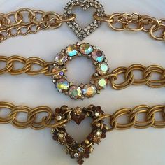 Chunky Gold and Vintage Rhinestone Bracelets coming to the Shop soon~