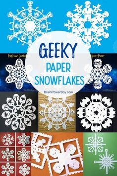 Make Geeky Paper Snowflakes! So Many Awesome Choices For Fun Crafting! Paper Snowflake Template, Paper Snowflake Patterns, Snowflake Craft, Paper Snowflakes, Winter Crafts For Kids, Crafts For Boys, Paper Crafts For Kids, Diy Paper, Diy Crafts