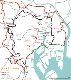 文政江戸朱引図と現在の地図 Tokyo City, Edo Period, Geography, Diagram, Japan, History, Retro, House, Ideas