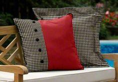Great custom designer duvet pillow with buttons made with Sunbrella Dupione Crimson (8051-0000), Robert Allen Square Pegs Noir (RA-1865300, and Sunbrella Black (5408-0000). #Alabama #RollTide #UGA