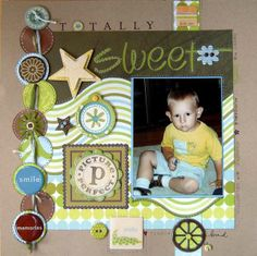 Like the circles on left... Great way to use of scraps that match the rest of the scrapbook
