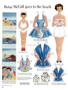 Betsy McCall paper doll goes to the beach - check out the 1950s swimsuit.
