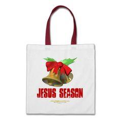 Jingle Bells Agrainofmustardseed.com JESUS SEASON Canvas Bags