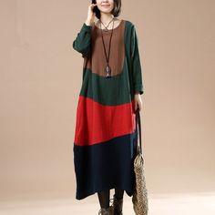 Cotton Linen Autumn Long Dress