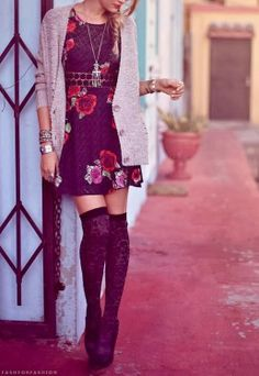 Mini dress-Cardigan-Necklace-Leggings-Heels