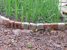 Recycled bricks for an edging Patio Edging, Brick Edging, Brick Path, Brick Garden, Garden Edging, Garden Borders, Garden Gates, Recycled Brick, Recycled Garden