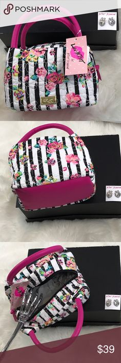 "Betsy Johnson Roses lunch bag NWT BETSEY Johnson classic black & white stripes with ROSES, quilted and insulated lunch mini satchel/ lunch bag.  Luv Betsey logo plaque. Golden hadware. Top handles 4"" drop. Zipper closure. Insulted interior. 6"" H x 8"" W x 6""D Betsey Johnson Bags"