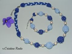 Hey, I found this really awesome Etsy listing at https://www.etsy.com/listing/234301663/necklace-and-bracelet-crochet-blue