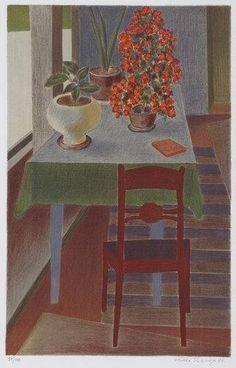Vionoja Veikko | A STILL LIFE WITH FLOWERS AND A TABLE (1994) | MutualArt Decoration, Art Decor, Graphic Prints, Graphic Art, Van Gogh Paintings, Painting Still Life, Scandinavian Modern, Magazine Art, Artist Painting