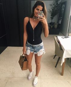 Party Outfit Summer Jeans Simple Ideas For 2019 Womens Fashion Casual Summer, Summer Fashion Outfits, Cute Summer Outfits, Short Outfits, Casual Outfits, Cute Outfits, Outfit Summer, Fashion Clothes, Look Short Jeans