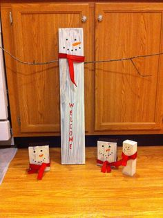 Snowmen I've painted just old wood I found around the house